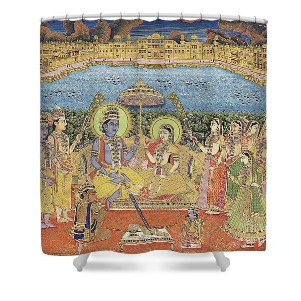 A Painting Of Rama And Sita, India, Jaipur, Circa 1800  Shower Curtain