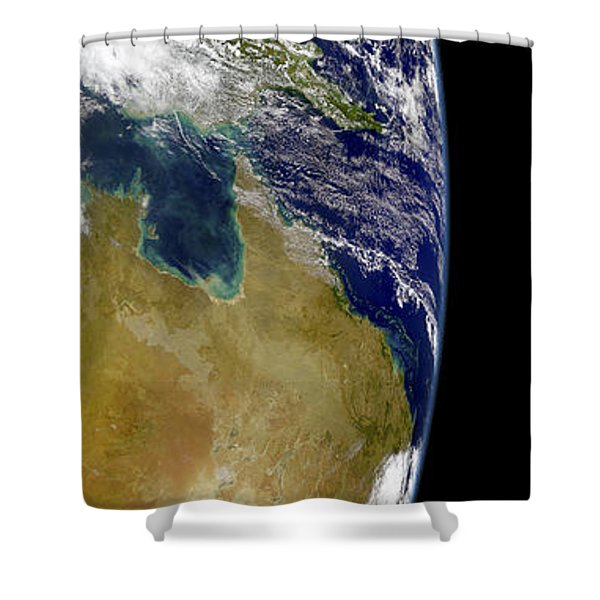 A Partial View Of Earth Showing Shower Curtain by Stocktrek Images