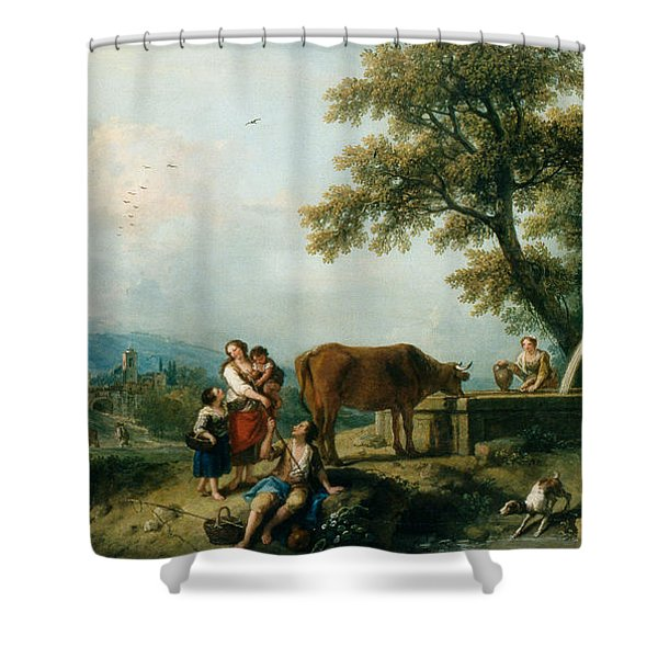 A Pastoral Scene With Cowherds Shower Curtain