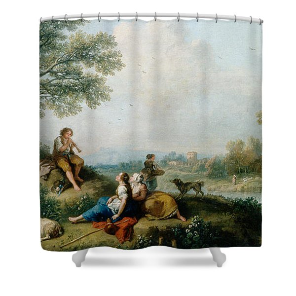 A Pastoral Scene With Goatherds Shower Curtain