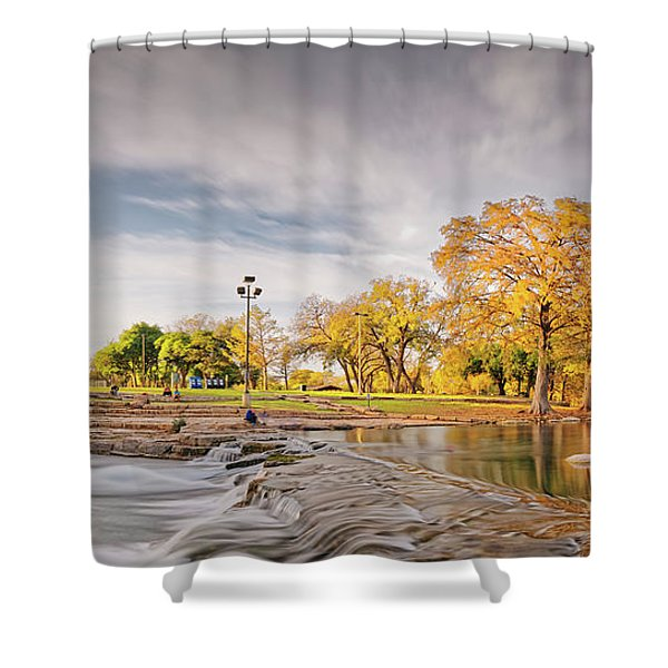 A Peaceful Fall Afternoon At Rio Vista Dam Park - San Marcos Hays County Texas Hill Country Shower Curtain