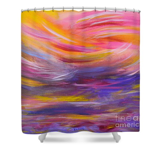 A Peaceful Heart - Abstract Painting Shower Curtain
