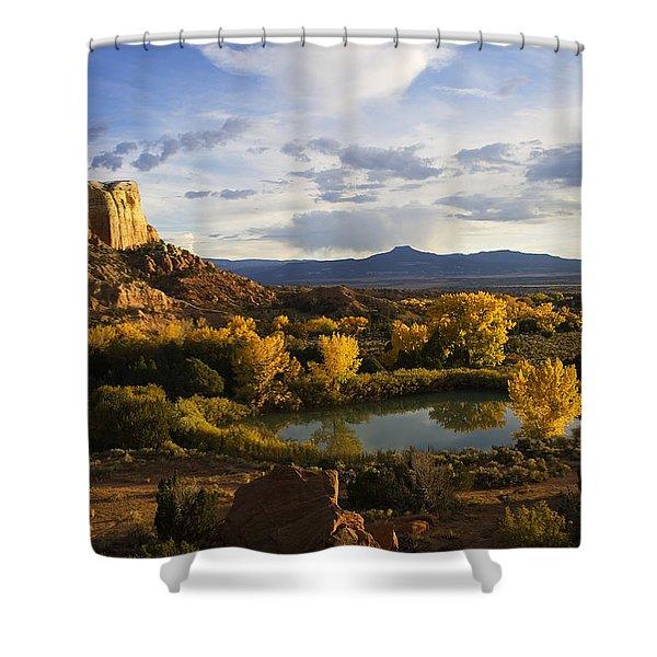 A Peaceful Landscape Stretches Shower Curtain