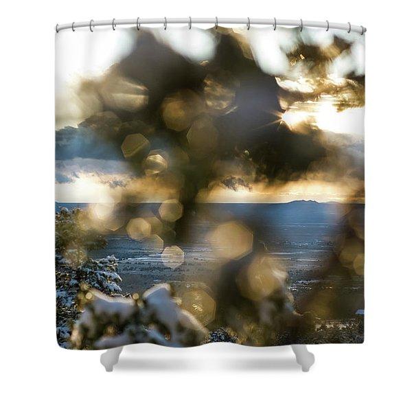 Shower Curtain featuring the photograph A Peek At Taos Mesa by Jason Coward