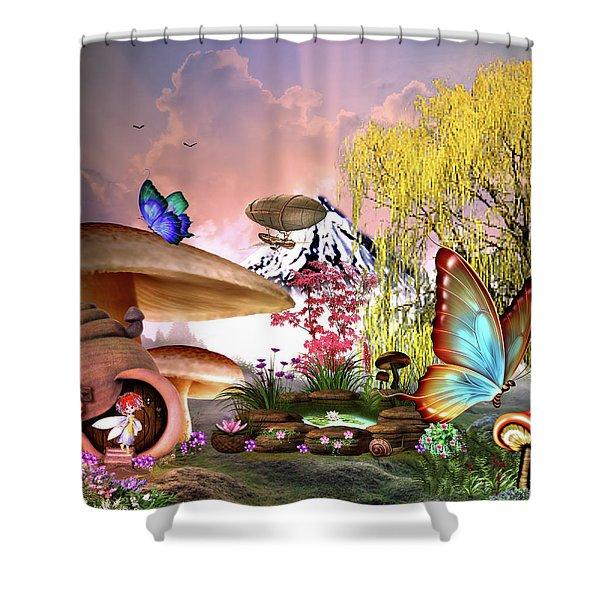 A Pixie Garden Shower Curtain