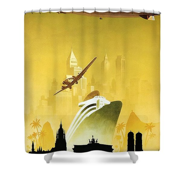 A Pleasant Trip To Germany - Airship, Aircraft, Ship - Retro Travel Poster - Vintage Poster Shower Curtain
