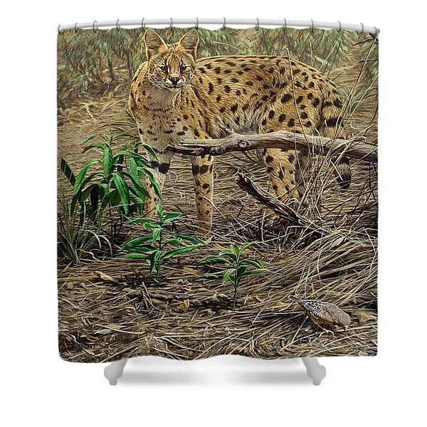 Shower Curtain featuring the painting A Quiet Approach by Alan M Hunt
