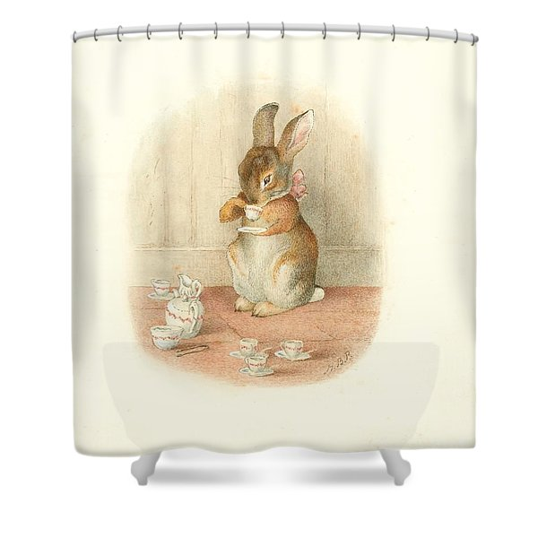 A Rabbit's Tea Party Shower Curtain