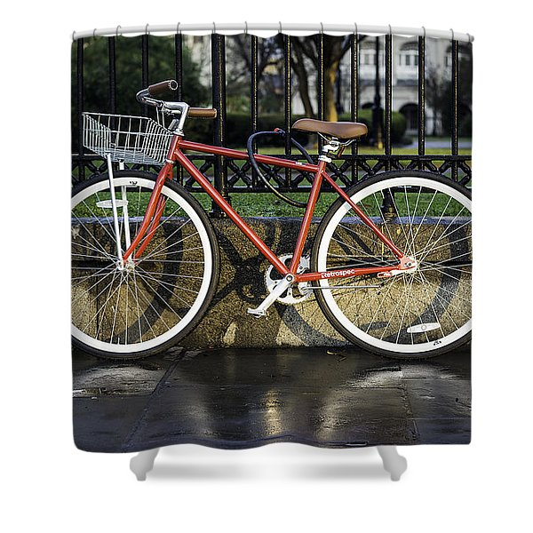 A Red Bicycle Near Jackson Square, New Orleans, Louisian Shower Curtain