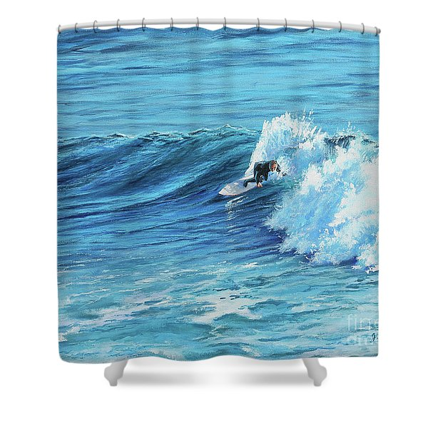 A Ride On Steamer Lane Shower Curtain
