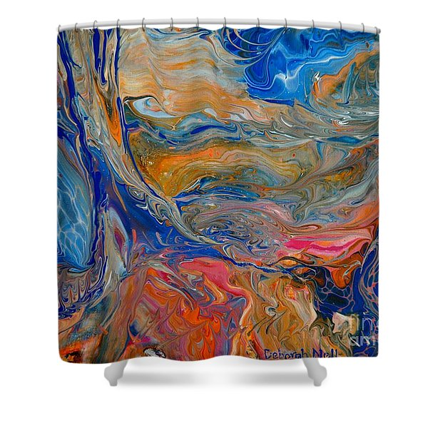 Shower Curtain featuring the painting A River Runs Through It by Deborah Nell