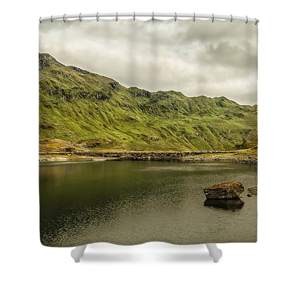 Shower Curtain featuring the photograph A Rock And A Hard Place by Nick Bywater
