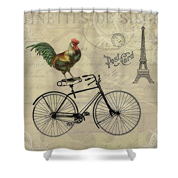 A Rooster In Paris Shower Curtain