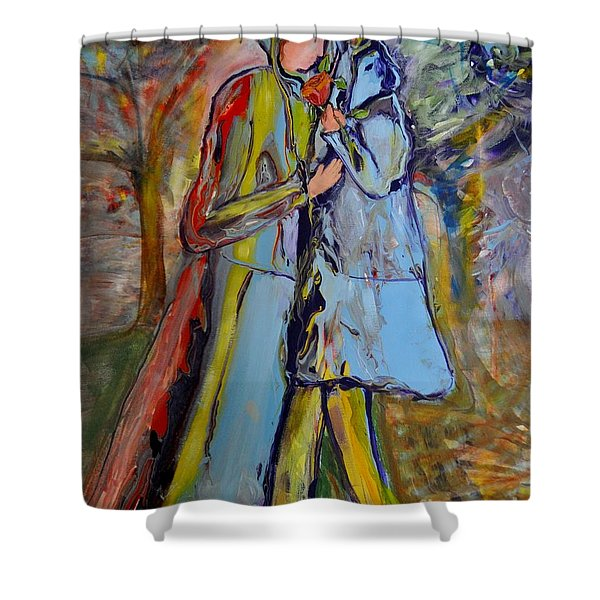 Shower Curtain featuring the painting A Rose For My Lady by Deborah Nell