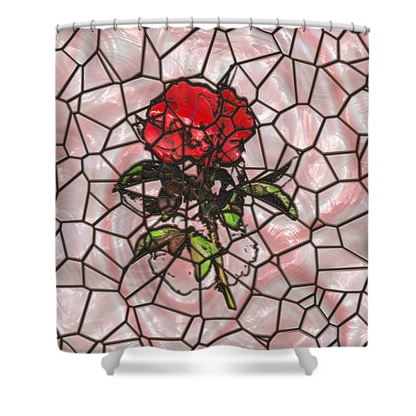 A Rose On Stained Glass Shower Curtain