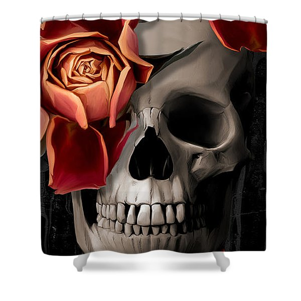 A Rose On The Skull Shower Curtain
