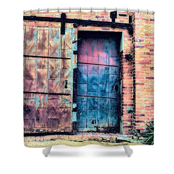 A Rusty Loading Dock Door Shower Curtain