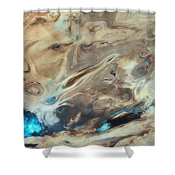 A Satellite Picture Of The Dasht-e Kavir Desert In Iran. Shower Curtain