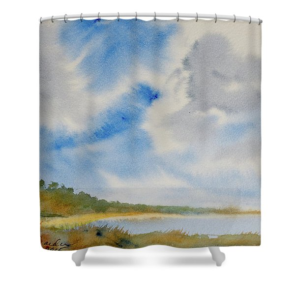 A Secluded Inlet Beneath Billowing Clouds Shower Curtain