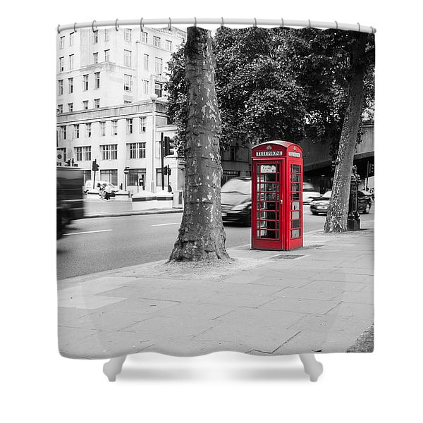 A Single Red Telephone Box On The Street Bw Shower Curtain