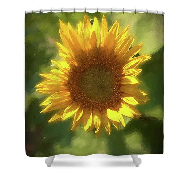 A Single Sunflower Showing It's Beautiful Yellow Color Shower Curtain