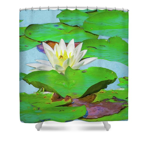 A Single Water Lily Blossom Shower Curtain