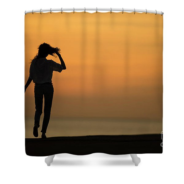 A Slim Woman Walking At Sunset Shower Curtain