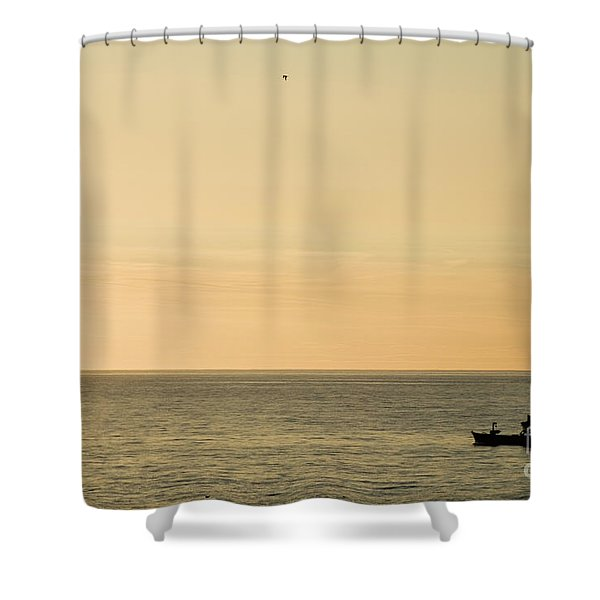 A Small Fishing Boat In Sunset Over Cardigan Bay Aberystwyth Ceredigion West Wales Shower Curtain