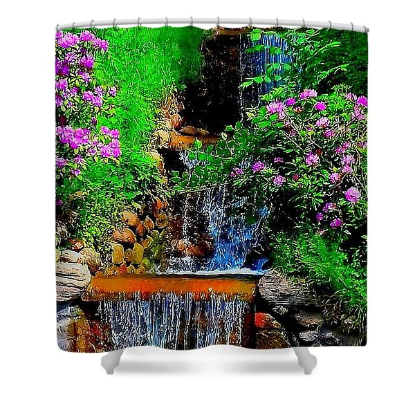 A Small Waterfall In Hbg Sweden Shower Curtain