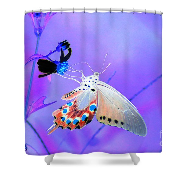 A Strange Butterfly Dream Shower Curtain