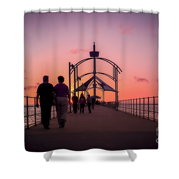 A Stroll Along Sunset Pier Shower Curtain