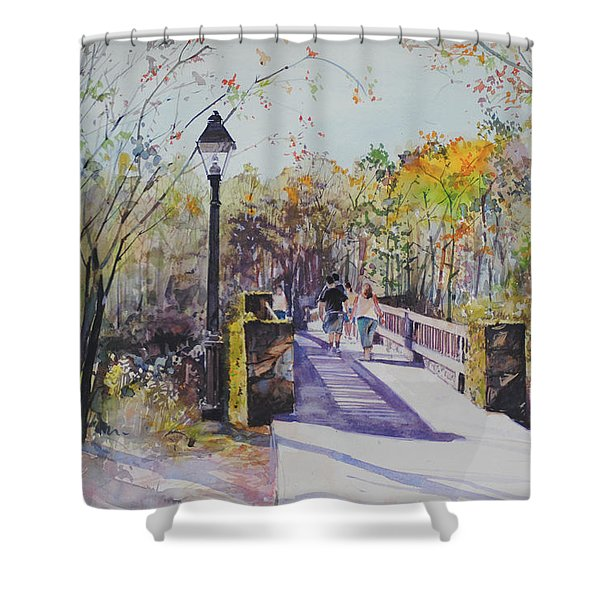 A Stroll On The Bridge Shower Curtain