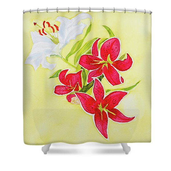 A Study Of Lilies Shower Curtain