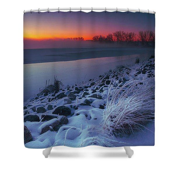 Shower Curtain featuring the photograph A Sunrise Cold by John De Bord
