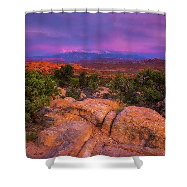 Shower Curtain featuring the photograph A Sunset Over Arches by John De Bord