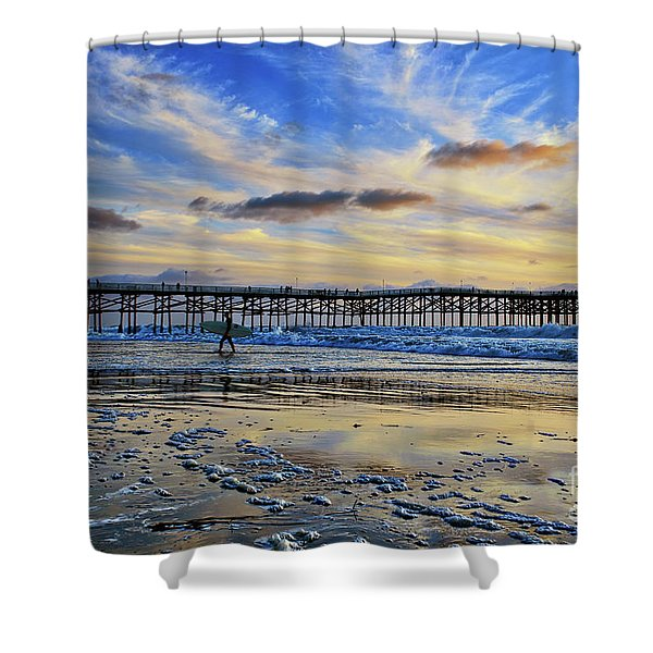 A Surfer Heads Home Under A Cloudy Sunset At Crystal Pier Shower Curtain