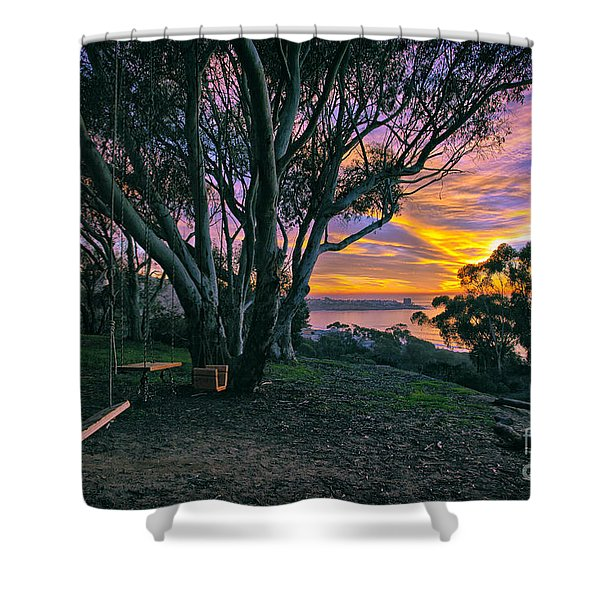 A Swinging Sunset From The Secret Swings Of La Jolla Shower Curtain