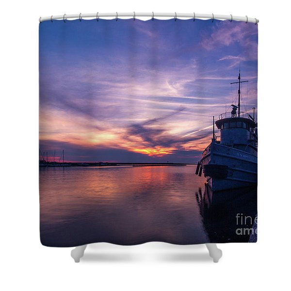 A Tugboat Sunset Shower Curtain