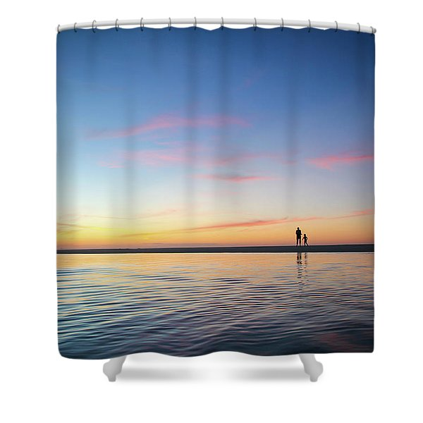 A Twilight Beach Walk Shower Curtain