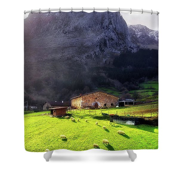 A Typical Basque Country Farmhouse With Sheep Shower Curtain
