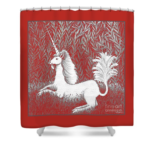 A Unicorn In Moonlight Tapestry Shower Curtain