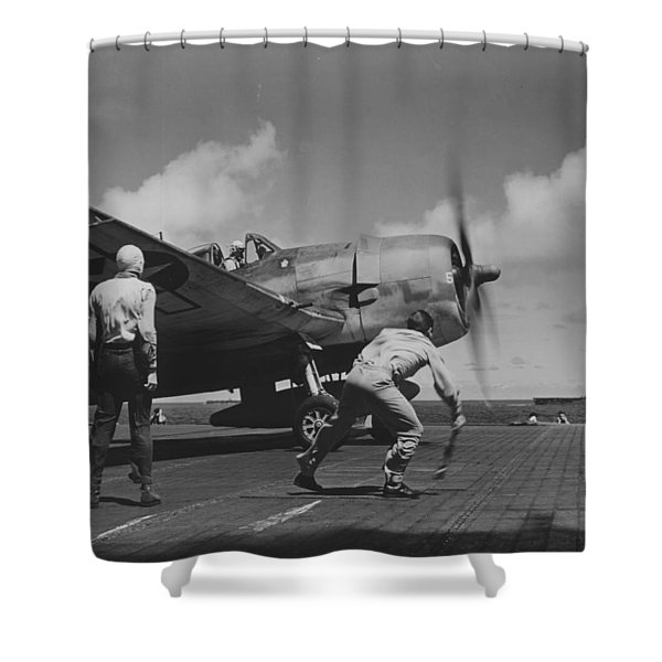 A Us Navy Fighter Pilot Gets The Take Off Flag From The Deck Crew Of An Aircraft Carrier Shower Curtain