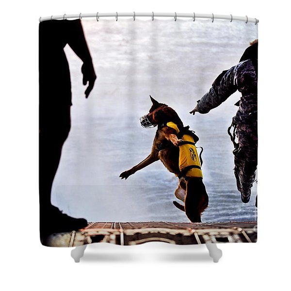 A U.s. Soldier And His Military Working Shower Curtain