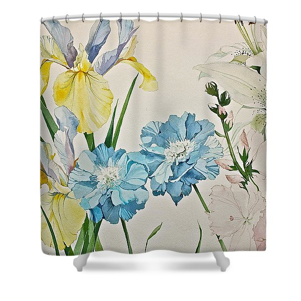 Shower Curtain featuring the painting A Variety-posthumously Presented Paintings Of Sachi Spohn  by Cliff Spohn
