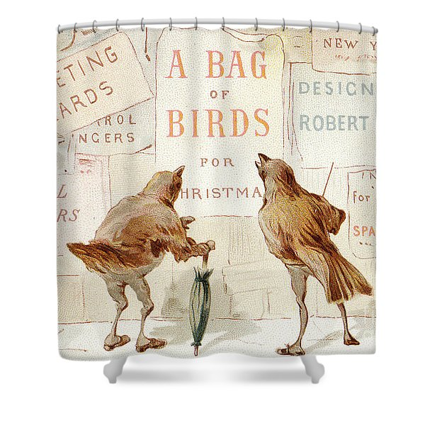 A Victorian Christmas Card Of Two Birds Looking At A Poster Of A Bag Of Birds For Christmas Shower Curtain