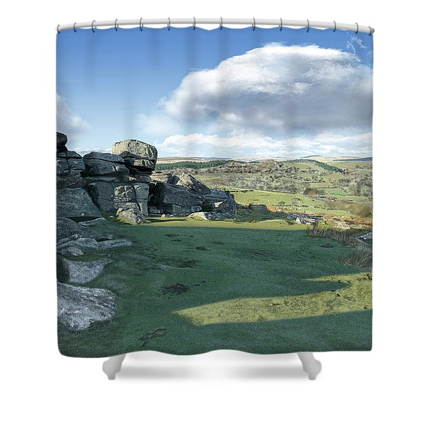 A View From Combestone Tor Shower Curtain