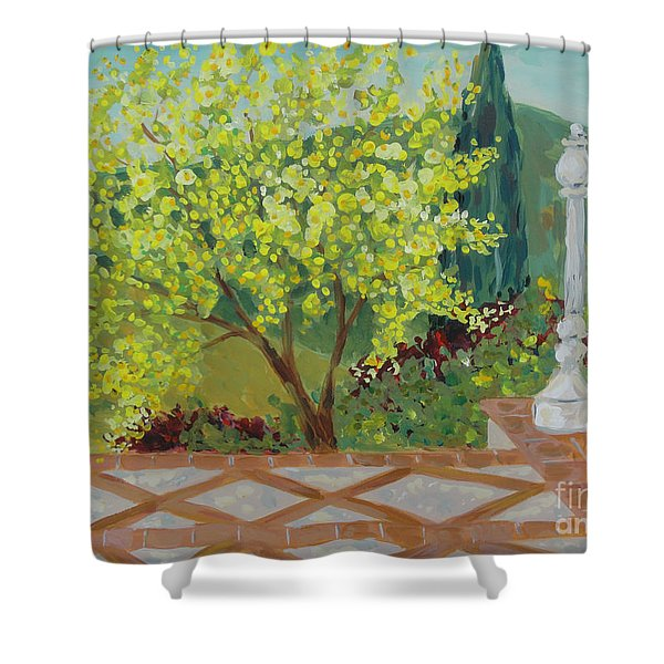 A View From Hearst Castle Shower Curtain