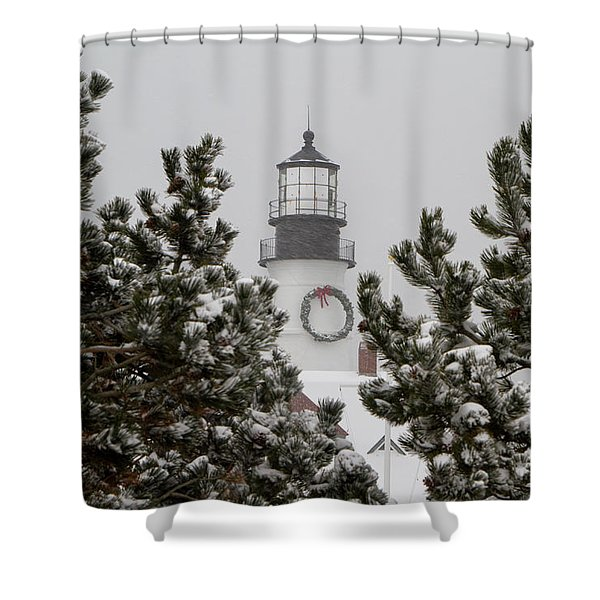 A View Of The Portland Head Light Shower Curtain