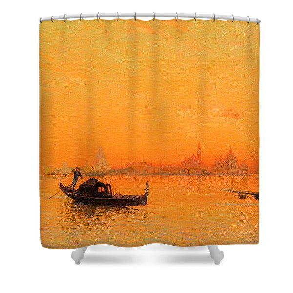 A View Of Venice At Sunset Shower Curtain