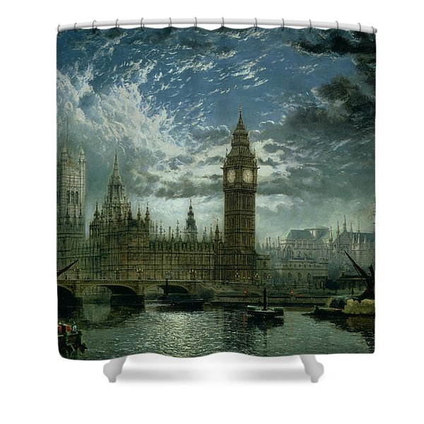 A View Of Westminster Abbey And The Houses Of Parliament Shower Curtain
